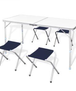 vidaXL campingbord og 4 klapstole højdejustérbart 120 x 60 cm