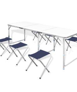 Foldbar camping tabellen med 6 stole højdeindstillelige 180 x 60 cm