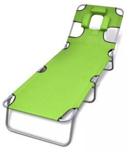 vidaXL foldbar liggestol med hovedpude pulverlakeret stål grøn