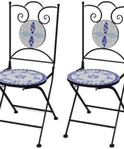 vidaXL foldbare bistrostole 2 stk. keramik blå og hvid
