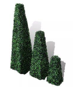 Sæt med 3 kunstige buksbom pyramide topiary