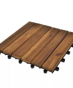 10 stk. terrassefliser i akacietræ 30 x 30 cm lodret mønster