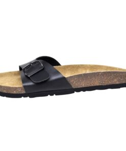 Sorte økologiske kork sandaler med 1 spænde, unisex, størrelse 36