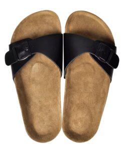 Sorte økologiske kork sandaler med 1 spænde, unisex, størrelse 37