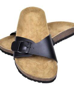 Sorte økologiske kork sandaler med 1 spænde, unisex, størrelse 40