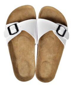 Hvide økologiske kork sandaler med 1 spænde, unisex, størrelse 37