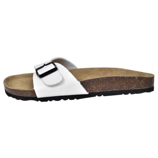 Hvide økologiske kork sandaler med 1 spænde, unisex, størrelse 38