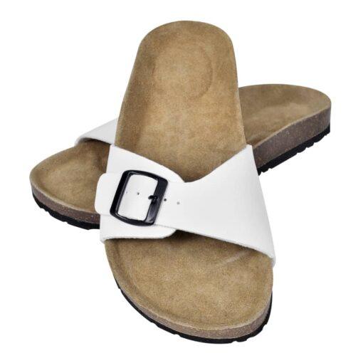 Hvide økologiske kork sandaler med 1 spænde, unisex, størrelse 40