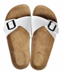 Hvide økologiske kork sandaler med 1 spænde, størrelse 41