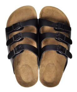 Sorte økologiske kork sandaler med 3 spænder, unisex, størrelse 38