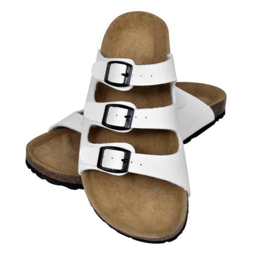 Hvide økologiske kork sandaler med 3 spænder, unisex, størrelse 37