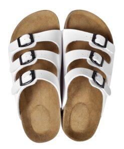 Hvide økologiske kork sandaler med 3 spænder, unisex, størrelse 38