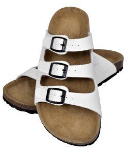 Hvide økologiske kork sandaler med 3 spænder, unisex, størrelse 40