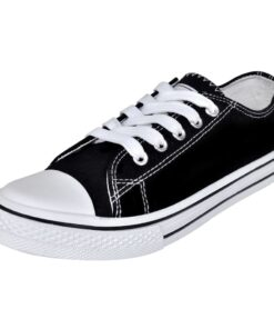 Klassisk low-top sneaker i kanvas med snørebånd til kvinder, str. 36, sort