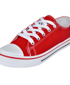 Klassisk low-top sneaker i kanvas med snørebånd til kvinder, str. 37, rød