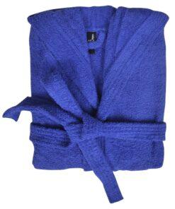 Unisex frottebadekåbe 100 % bomuld 500 g/m² blå XL