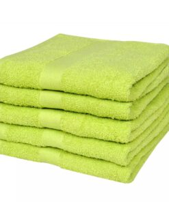 vidaXL håndklædesæt 5 stk. bomuld 500 gsm 100x150cm æblegrøn