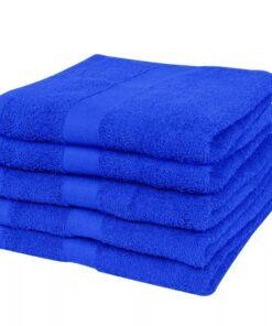 vidaXL håndklædesæt 5 stk. bomuld 500 gsm 100x150cm kongeblå