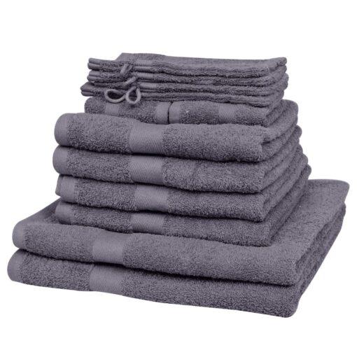 vidaXL håndklædesæt i 12 dele bomuld 500 gsm antracitgrå