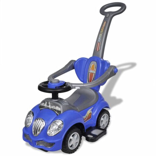 vidaXL bil til børn skubbehåndtag blå