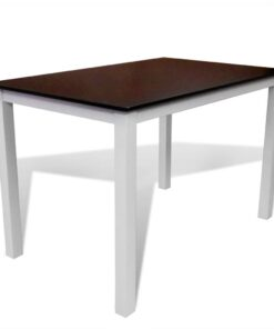 vidaXL spisebord massivt træ brun og hvid 110 cm