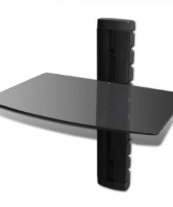 vidaXL enkeltfladet vægmonteret DVD-hylde glas sort