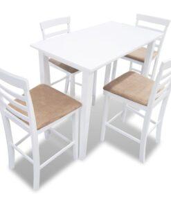 Barbord 4 barstole træ hvidt