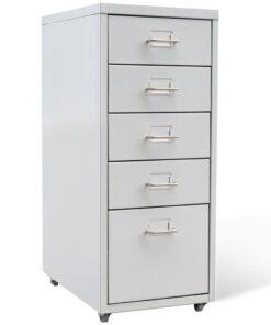 vidaXL arkivskab 5 skuffer grå 68,5 cm stål