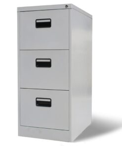 vidaXL arkivskab 3 skuffer grå 102,5 cm stål