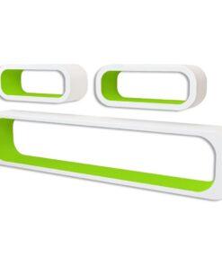 3 Hvid-grøn MDF svævende vægdisplay kuber bog/DVD opbevaring
