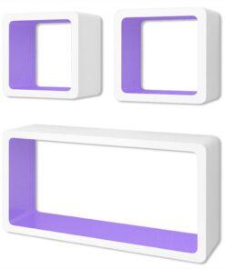 3 Hvid-lilla MDF svævende vægdisplay kuber bog/DVD opbevaring