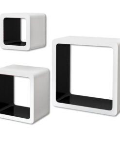 3 Hvid-sort MDF svævende vægdisplay kuber bog/DVD opbevaring