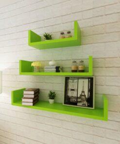 3 Grøn MDF U-formet svævende vægdisplay hylder bog/DVD opbevaring