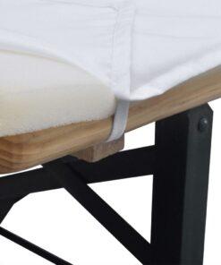 Overtræk til Ølbænk med 2 Polstrede Bænkovertræk Hvid 240 x 70 cm