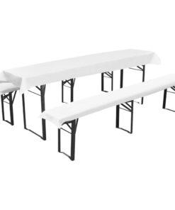 Overtræk til Ølbænk med 2 Polstrede Bænkeovertræk Hvid 240 x 90 cm