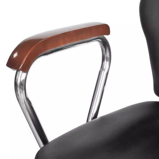 vidaXL professionel barberstol med hovedstøtte i sort kunstlæder