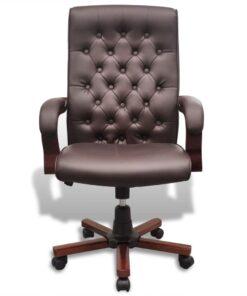 Chesterfield kontorstol i kunstigt læder, brun