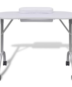 vidaXL manicurebord med hjul sammenfoldelig hvid