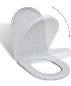 vidaXL firkantet toiletsæde soft close-funktion hvidt