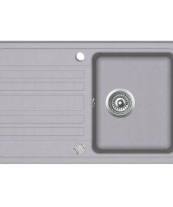 vidaXL køkkenvask i granit med afløbsbakke reversibel grå