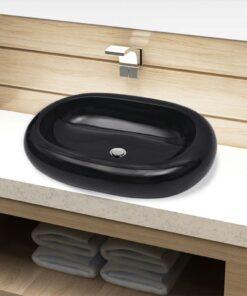 Håndvask i keramik til badeværelse, oval, sort