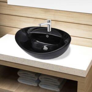 Keramisk badeværelsesvask basin vandhane/overfyldningshul sort oval