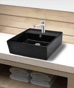 Keramisk vask overløb hanehul firkantet sort