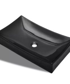 Keramisk badeværelsesvask basin sort rektangulær