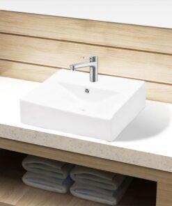 Keramisk håndvask overløb hanehul firkantet hvid