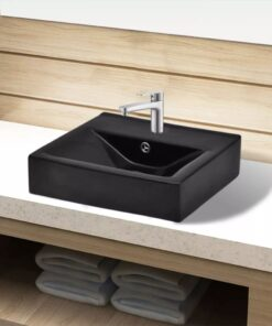 Keramisk håndvask overløb hanehul firkantet sort
