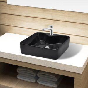 Keramisk håndvask vandhanehul sort firkantet