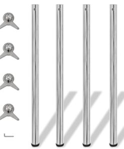 4 bordben, justerbar højde, krom, 1.100 mm