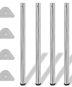 4 bordben, justerbar højde, 870 mm, krom