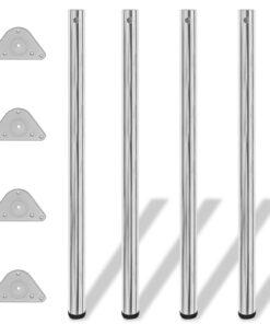 4 højdejusterbare bordben krom 1100 mm